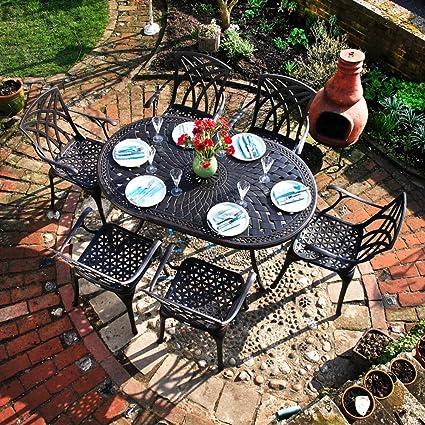Ensemble meubles de jardin Aluminium - Table ovale June 95 x 150cm et 6 chaises April