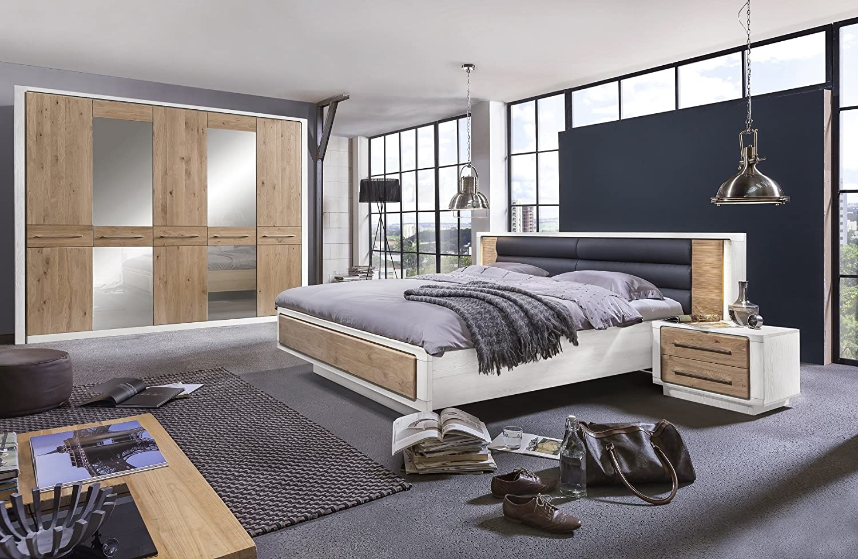Telmex 50EWLBS3 Schlafzimmer Set Elba, Kleiderschrank 261 x 220 x 57 cm, Bett 160 x 200 cm, Beleuchtungset zu Bettkopfteil, zwei Nachtkommode 65 x 43 x 41 cm, teilmassiv, Asteiche Bianco / Kiefer weiß