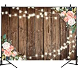 Mehofoto Brown Wood Backdrops for Photography String Lights Wooden Background Flower Decorate 7X5ft Wedding Birthday Party Banner Decor Wooden Plank Vinyl Photo Studio Props (Color: String Lights wood, Tamaño: 7x5ft)