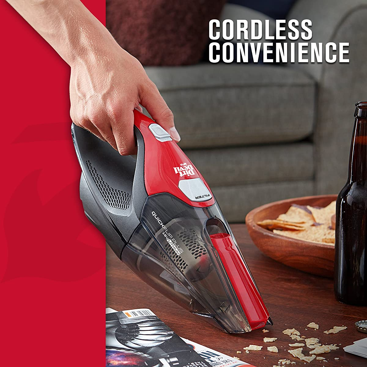Dirt Devil Quick Flip Plus Cordless 16 Volt Lithium Ion Bagless Handheld Vacuum BD30025B