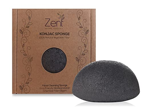 Konjac Sponge - Activated Charcoal Facial Cleansing Sponge, Gentle Scrub and Natural Exfoliator, Minimize Pores and Improve Skin Texture, Good for Oily, Mix and Acne Prone Skin, Includes Suction Hook