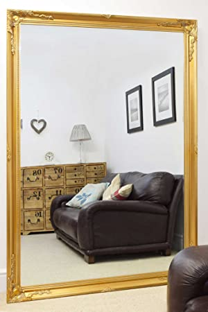 Extra Large Classic Ornate Styled Gold Mirror 6ft7 x 4ft7 (201cm x 140cm)