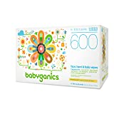 Babyganics Face, Hand & Baby Wipes, Fragrance Free, 600 ct, Packaging May Vary (Tamaño: 600 Count)