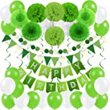 Zerodeco Birthday Party Decoration, Happy Birthday Banner Bunting with 4 Paper Fans Tissue 6 Paper Pom Poms Flower 10 Hanging Swirl and 20 Balloon for Birthday Party Decorations -Green and White (Color: Green, Light Green and White)