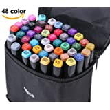Zongii 48 Colors Highlighters Markers Pen - Dual Tip Art Sketch Twin Permanent Marker with Carrying Case - Ideal For Drawing Coloring Highlighting and Underlining- Suitable For Kids And Adults (Color: 48pcs)