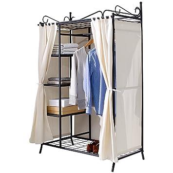 """Armario de ropa"""" Breezy"""", con estructura metálica y cubierta de algodón, beige / negro, aprox. Ancho 109 x Fondo 57 x Altura 171 cm"""