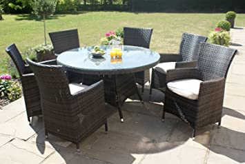 Maze Rattan LA 6 Seater Round Garden Furniture Dining Set - Brown - Inc Free Parasol