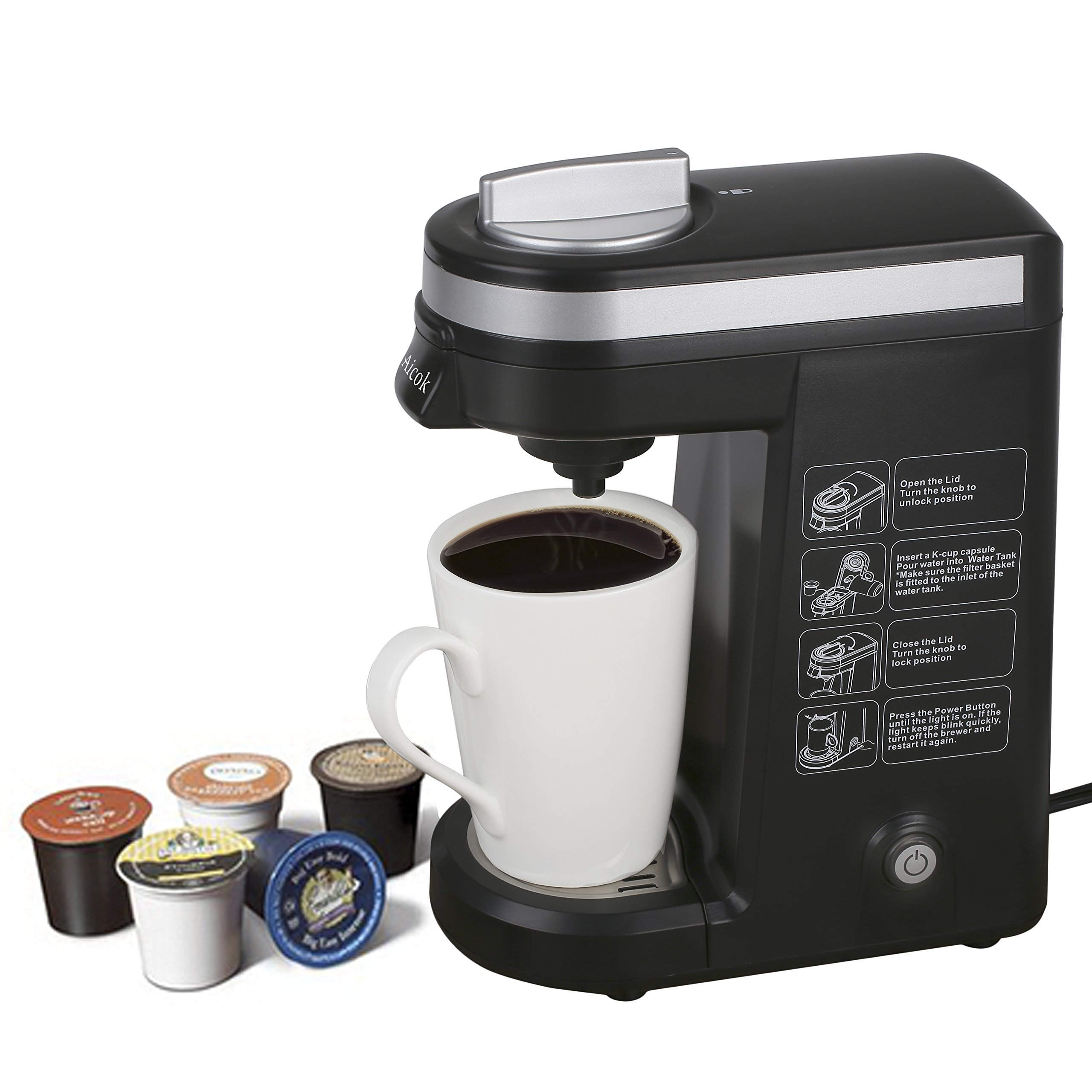 Aicok K-cup Coffeemaker Compact Single Serve Coffee Brewer ...