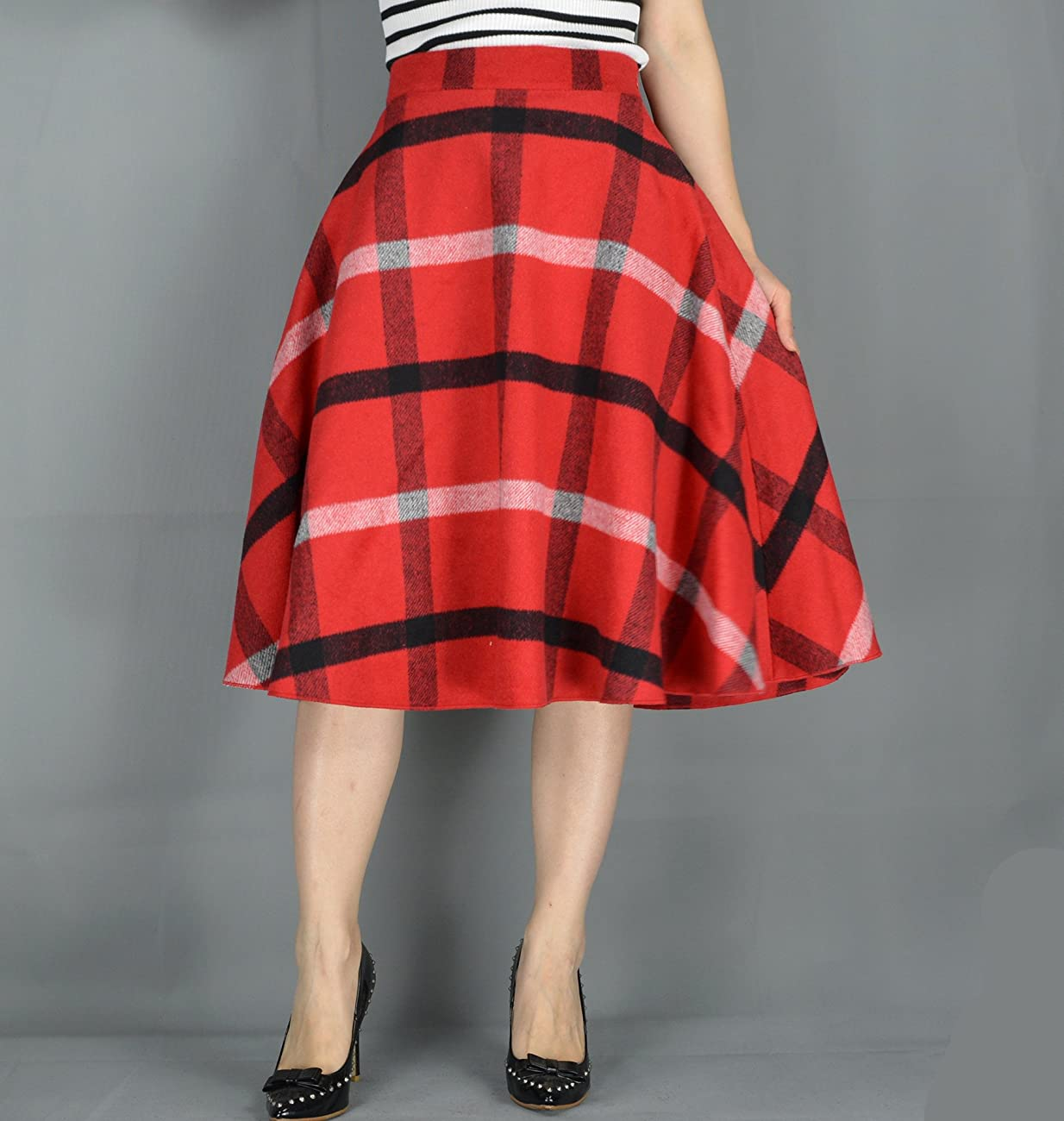 YSJ Women's Wool Midi Skirt A-Line Pleated Vintage Plaid Winter Swing Skirts 2