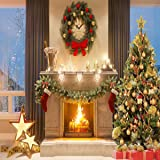 8x8ft Microfiber Christmas Photography Backdrops Fireplace Garland Seamless Photo Booth Prop Gold Star Bell Christmas Tree Background for Photo Studio (Color: christmas1, Tamaño: 8x8ft)