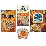 Pumpkin Spice Kellogg Cheerios Cereal and Quaker Oatmeal Limited Editions Bundle/Breakfast Frosted Mini-Wheats Low Fat 15.5oz/Whole Grain Oats 12oz/ Instant Oatmeal 8CT 1.51 oz Pks/Pumpkin Napkins