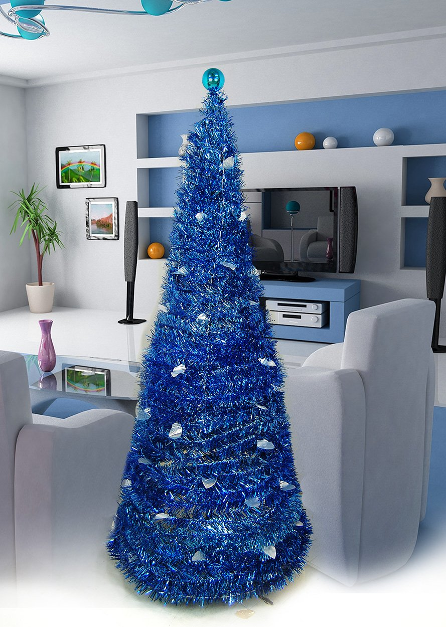Christmas Tree 5' Collapsible Pop-up Tinsel Metallic Cone Modern Decor Holiday Design (Blue)