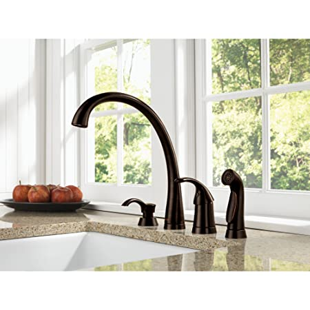 Delta Venetian Bronze Finish Pilar Modern Single Handle Kitchen Faucet with Side Spray and Deck Mount Soap Dispenser Package D069CR