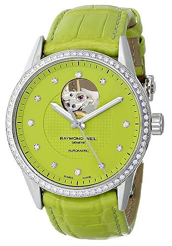 Raymond Weil Women's 2750-SLS-64081 Freelancer Analog Display Swiss Automatic Green Watch