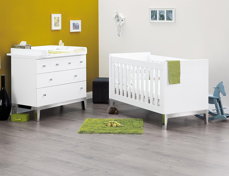 Pinolino Sparset Vision breit, 2-teilig, Kinderbett (140 x 70 cm) und breite Wickelkommode mit Wickelaufsatz, weiß Edelmatt (Art.-Nr. 09 34 44 B)