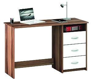 Demeyere 1001 Schreibtisch Aristote, 3 Schubladen und 1 Nischen, merano / weiß    Überprüfung und weitere Informationen