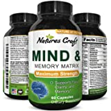 Natures Craft Mind & Memory Matrix Brain Supplement for Adults to Boost Focus + Concentration + Mental Performance – Natural Nootropic Pills for Men & Women – DMAE Bitartrate + Green Tea + Bacopa