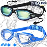 COOLOO Swim Goggles, Pack of 2, Swimming Goggles for Adult Men Women Youth Kids Child, Triathlon Equipment, with Mirrored & Clear Anti-Fog, Waterproof, UV 400 Protection Lenses, Made (Color: 1.Black Ultra Mirror/Blue)