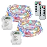 buways Fairy Lights, 2-Pack Battery Operated Waterproof 50 LED Fairy String Lights,16.4feet Light with Remote Control for Party Weeding Garden Home Decoration (Multi-Colored) (Color: Multicolor)