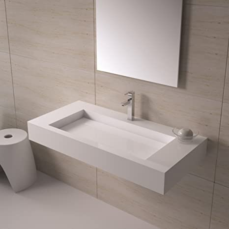 ADM Bathroom Glossy White Stone Resin Sink DW-120