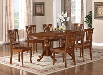 East West Furniture PLAV7-SBR-W 7-Piece Dining Table Set