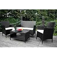 Merax 4-piece Outdoor Rattan Wicker Sofa and Chairs Set Rattan Patio