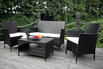 Merax 4-piece Outdoor Sofa and Chairs Se