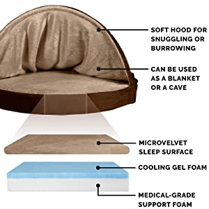Furhaven Pet Dog Bed | Cooling Gel Memory Foam Orthopedic Round Cuddle Nest Micro Velvet Snuggery Pet Bed for Dogs & Cats, Espresso, 26-Inch (Color: Microvelvet Espresso, Tamaño: 26 Base)