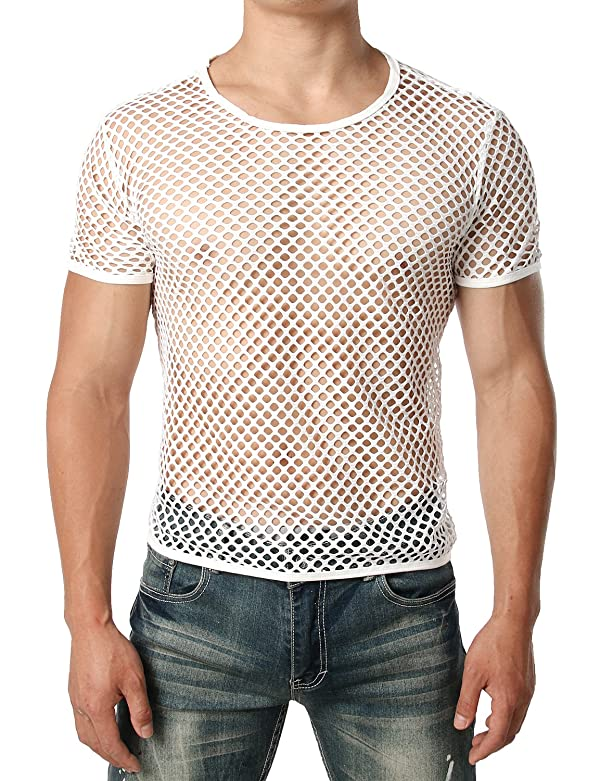 JOGAL Mens Mesh Fishnet Fitted Short Sleeve Muscle Top