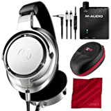 Audio-Technica ATH-SR9 Sound Reality Over-Ear High-Resolution Headphones (Silver) with M-Audio Bass Traveler Headphone Amplifier and Accessory Bundle (Color: Silver)