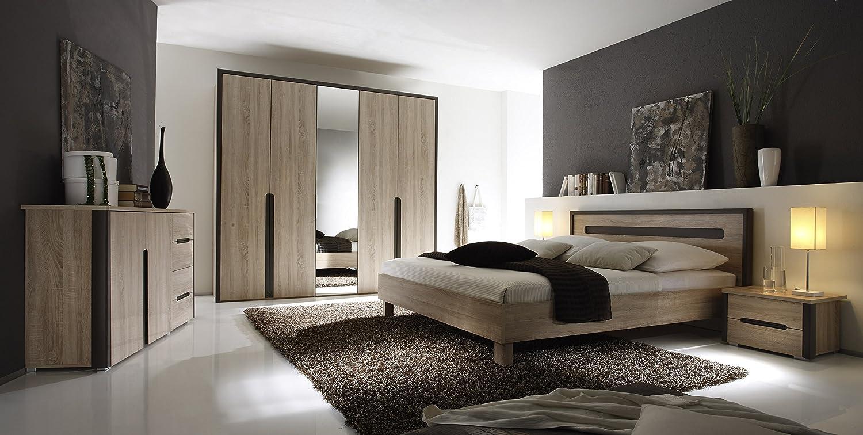 Schlafzimmer mit Bett 180 x 200 cm Eiche Sonoma/ braun lava online kaufen
