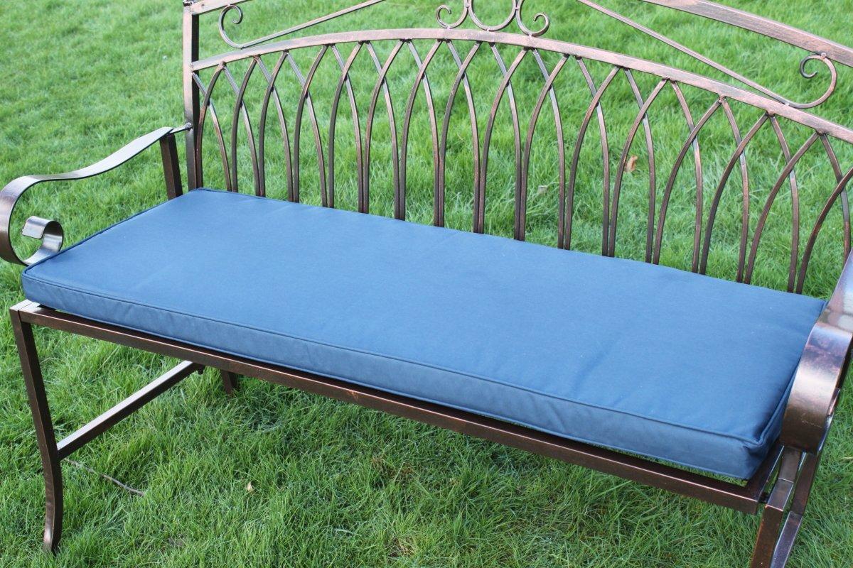 gartenm bel auflage auflage f r 2 sitzer metall gartenbank in marineblau kaufen. Black Bedroom Furniture Sets. Home Design Ideas