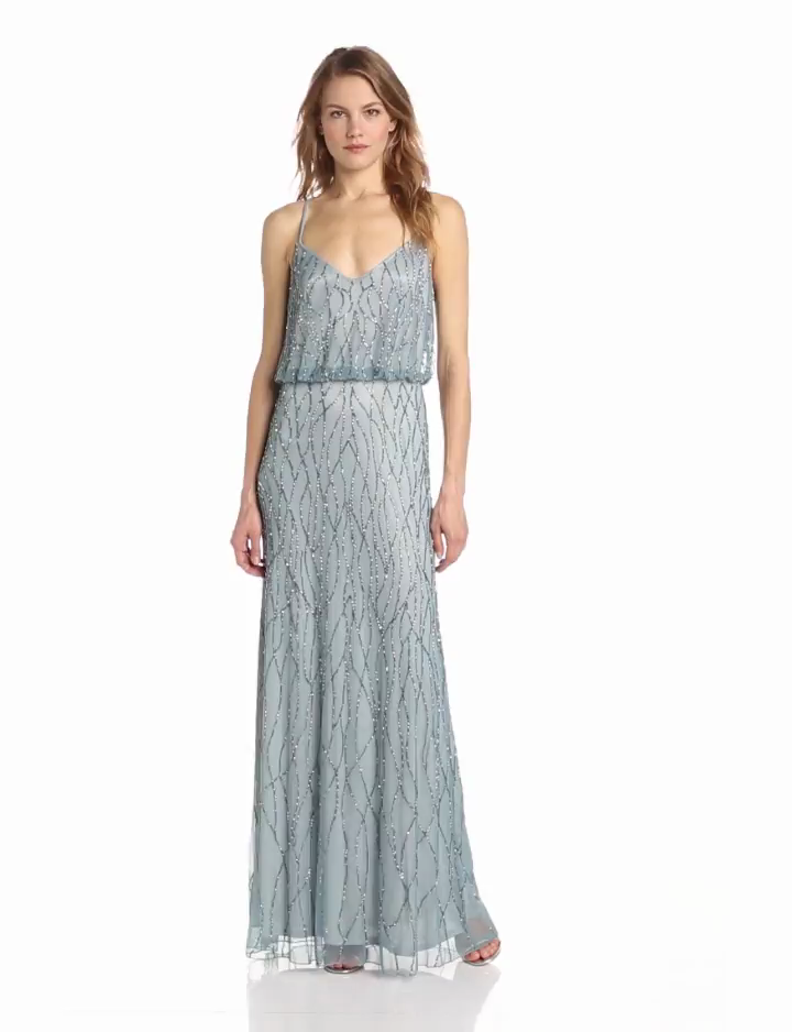 Adrianna Papell Womens Long Halter Blouson Gown with V Neckline and Cross Straps in Back, Slate, 10