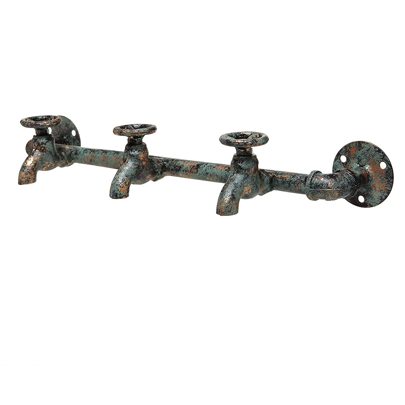 Rustic Industrial Faucet & Pipe Wall Mounted Iron Coat Hooks Garment Hanger / Towel Rack Bar - Turquoise 0