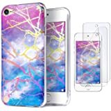 iPod Touch 7 Case with 2 Screen Protectors, IDWELL iPod Touch 6 Case, iPod Touch 5 Case, Slim FIT Anti-Scratch Flexible Soft TPU Bumper Hybrid Shockproof Protective Cover, Glitter Lightning Sky (Color: Glitter lightning sky)