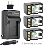 Kastar Battery (3-Pack) and Charger Kit for JVC BN-VF815, BN-VF815U and GR-D850 GR-D851 GR-D853 GR-D870 GR-D875 GR-DA30 GS-TD1 GY-HM70 GY-HM100 GY-HM100U GY-HM150 GY-HM170U GZ-HMZ1 GZ-MG130 GZ-MG131