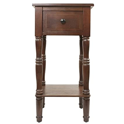 Simplify Walnut 1-Drawer Square Accent Table