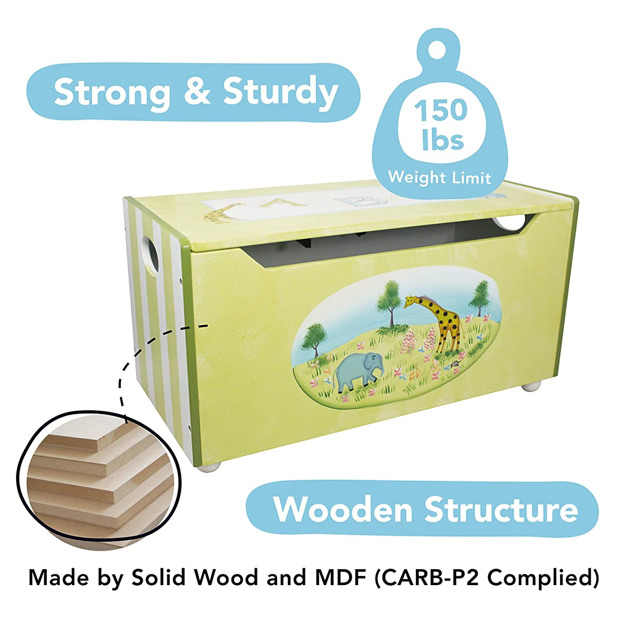 Fantasy Fields - Alphabet Thematic Kids Wooden Toy Chest with Safety Hinges | Imagination Inspiring Hand Crafted & Hand Painted Details Non-Toxic, Lead Free Water-based Paint