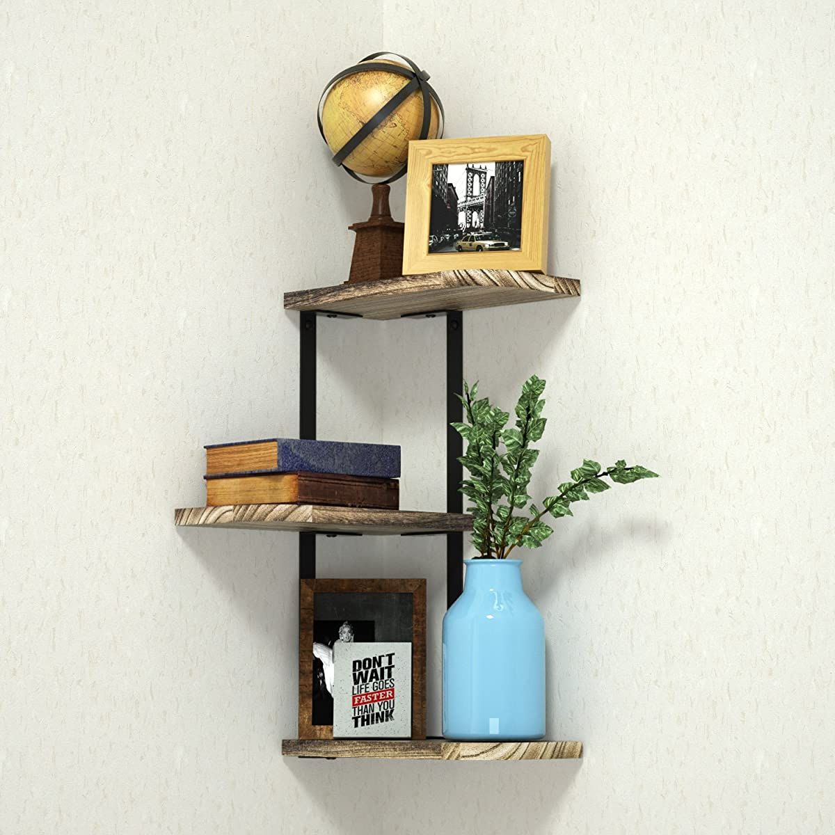 Corner Shelf Wall Mount of 3 Tier by Love-KANKEI, Rustic Wood Floating Shelves for Bedroom, Living Room, Bathroom, Kitchen, Office and More