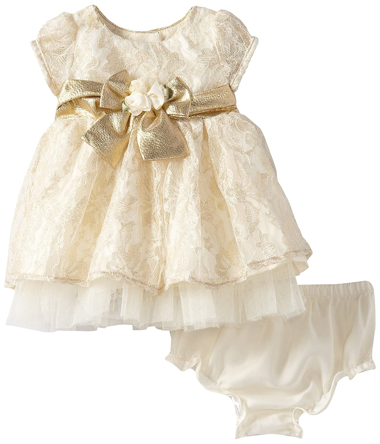 Youngland Baby-Girls Newborn Lace Dress with Bow and Matching Panty