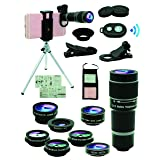 Cell Phone Camera Lens Kit,11 in 1 Universal 20x Zoom Telephoto Lens,0.63Wide Angle+15X Macro+198°Fisheye+2X Telephoto+Kaleidoscope+CPL/Starlight/Eyemask/Tripod/Remote,for Most Smartphone (Black) (Color: black)