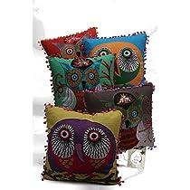 Karma Living Watchful Eyes Owl Pillow - Square
