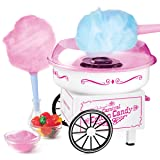 Nostalgia PCM325WP Vintage Hard & Sugar Free Cotton Candy Maker, White (Color: White)