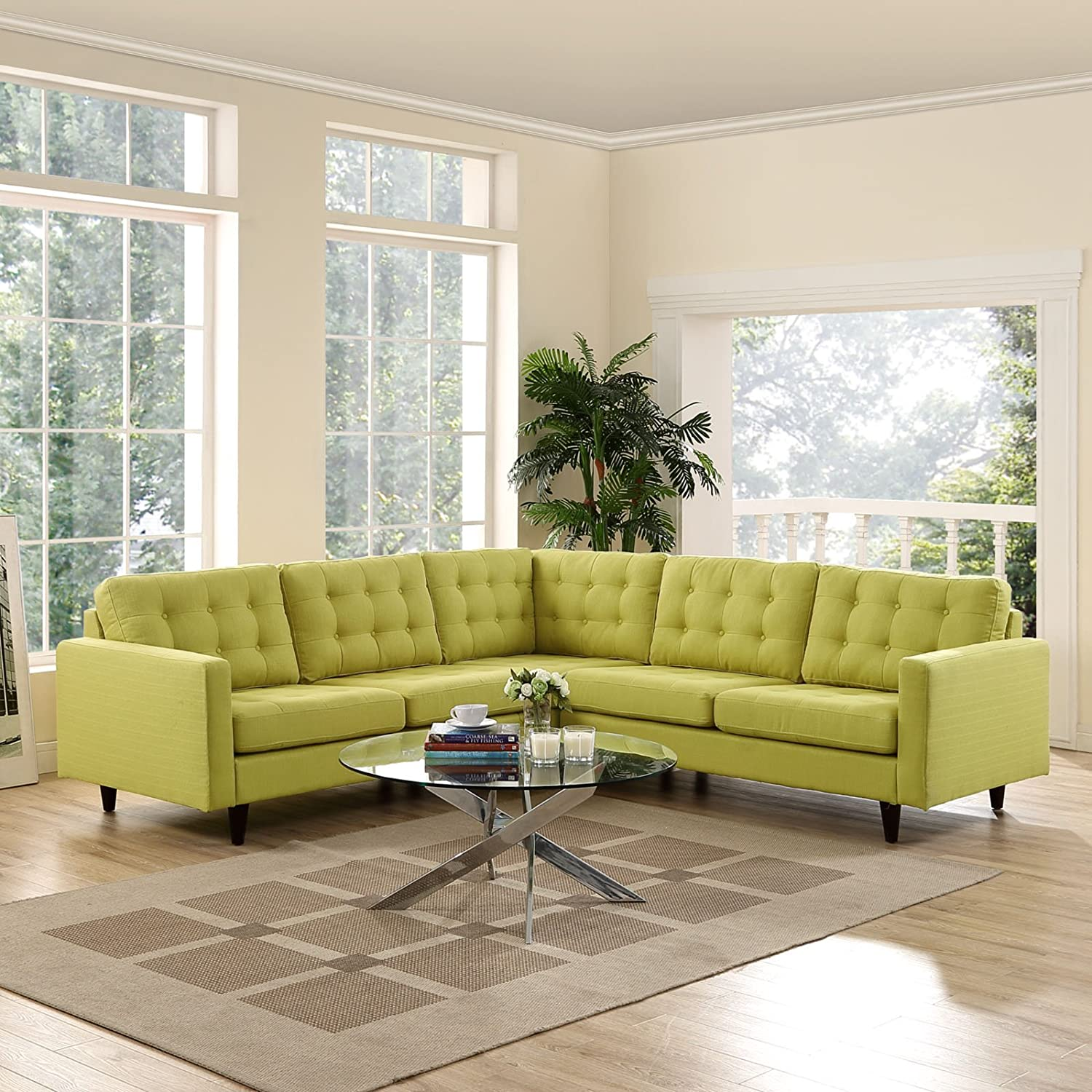 Empress 3 Piece Fabric Sectional Sofa Set - Wheatgrass