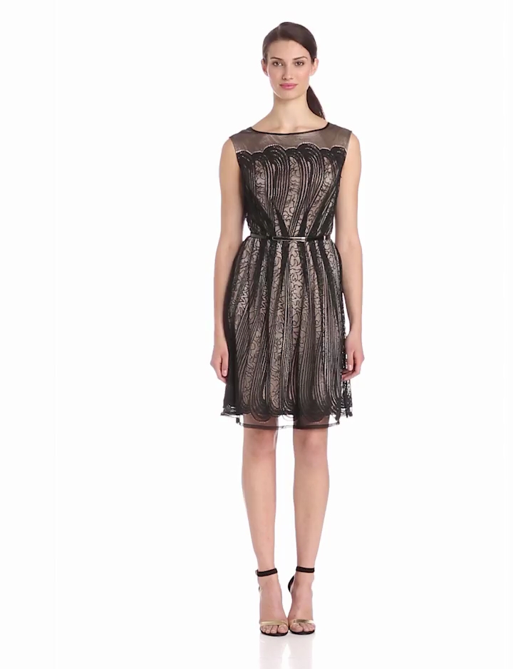 Adrianna Papell Womens Pleats Placed Lace Shift Dress