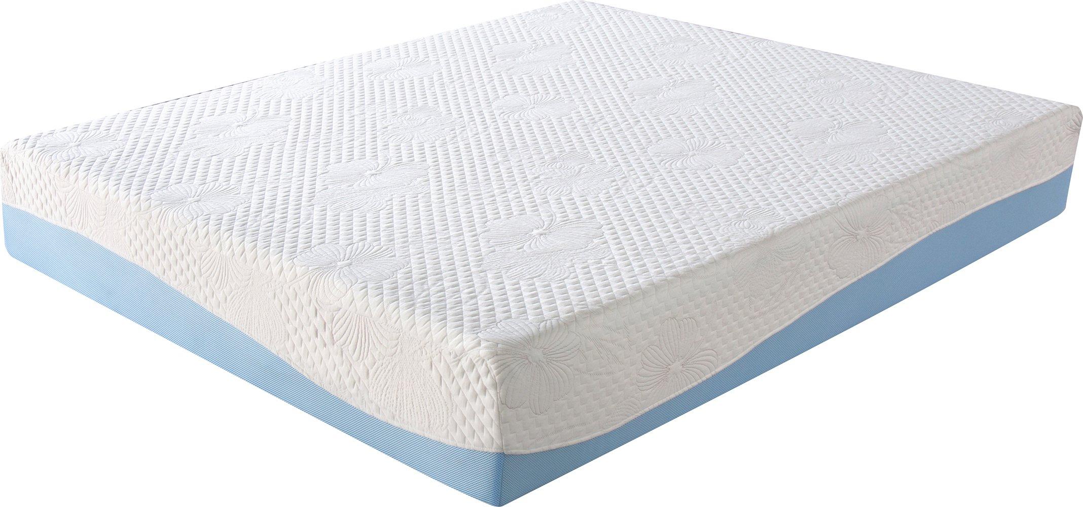 olee sleep 10 inch gel infused layer top memory foam mattress blue full ebay. Black Bedroom Furniture Sets. Home Design Ideas