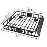 HTTMT MT371-029-M 43 Inches Universal Black Roof Rack Cargo Carrier w/Luggage Hold Basket SUV (Color: Same as picture show)