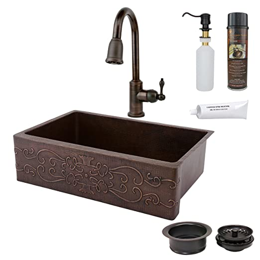 Premier Copper Products KASDB33229S 33-Inch Kitchen Apron Single Basin Sink Scroll Design with Spring Pull Down Faucet Package, Oil Rubbed Bronze