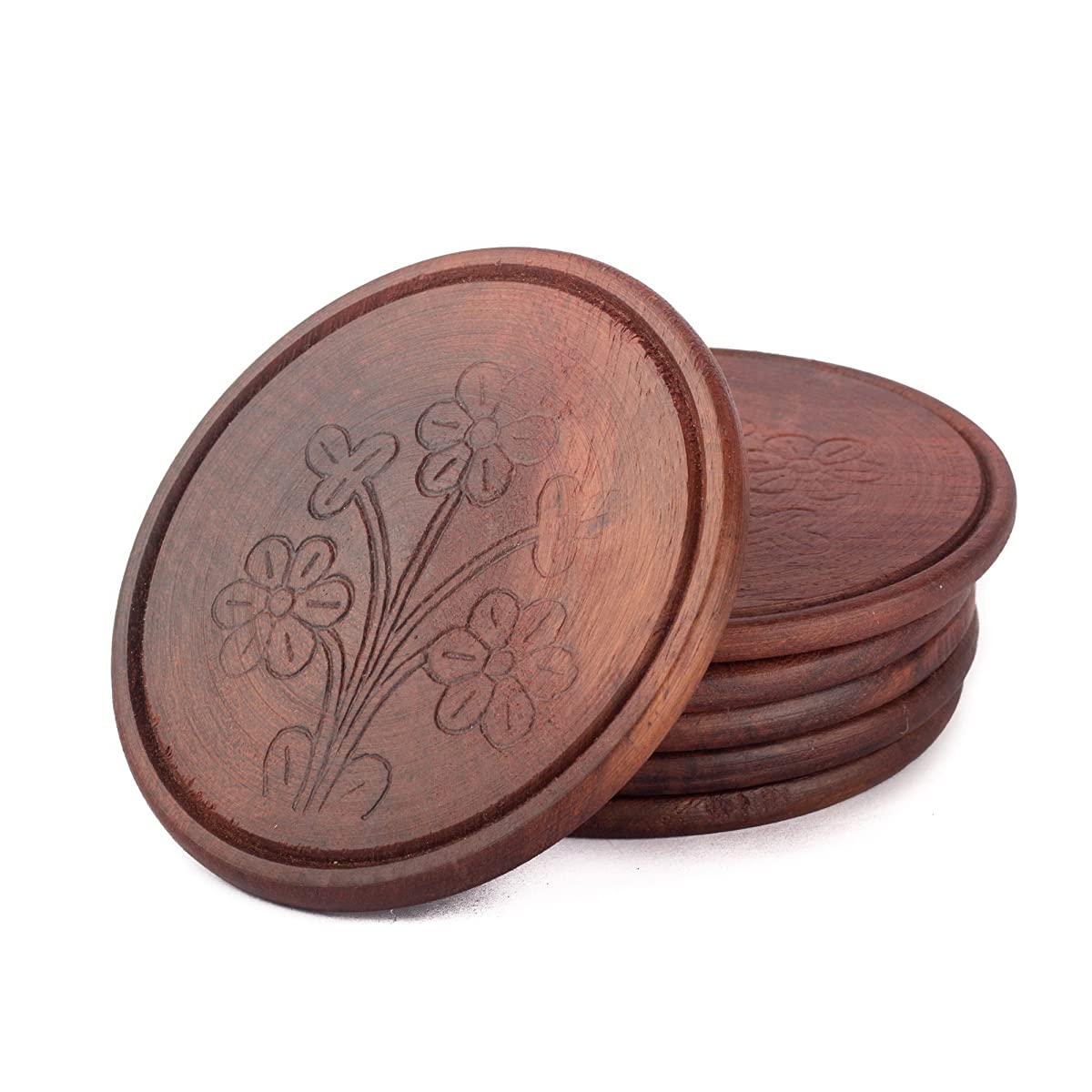 StarZebra SALE Handmade Retro Wood Coaster Set with 6 Round Table Coasters and Decorative Wooden Holder - Table Top Accessories & Housewarming Gifts