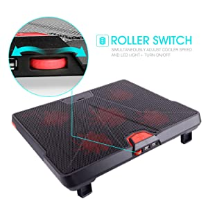HIRALIY 5 Fans Laptop Cooling Pad 12-17 Cooler Pad Chill Mat with LED Light Dual USB 2.0 Ports Adjustable Mount Stand (Black+Red) (Color: Red)